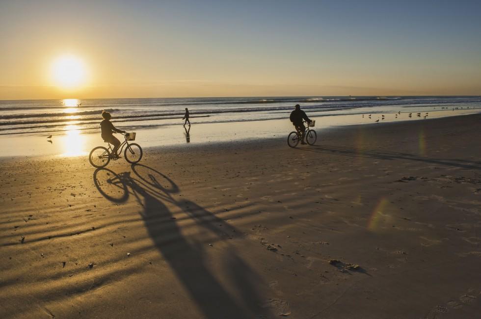Sunrise, Bicycles, Cocoa Beach, Florida, USA