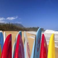 Surfboards, Lumahai Beach, Kauai, Hawaii, USA