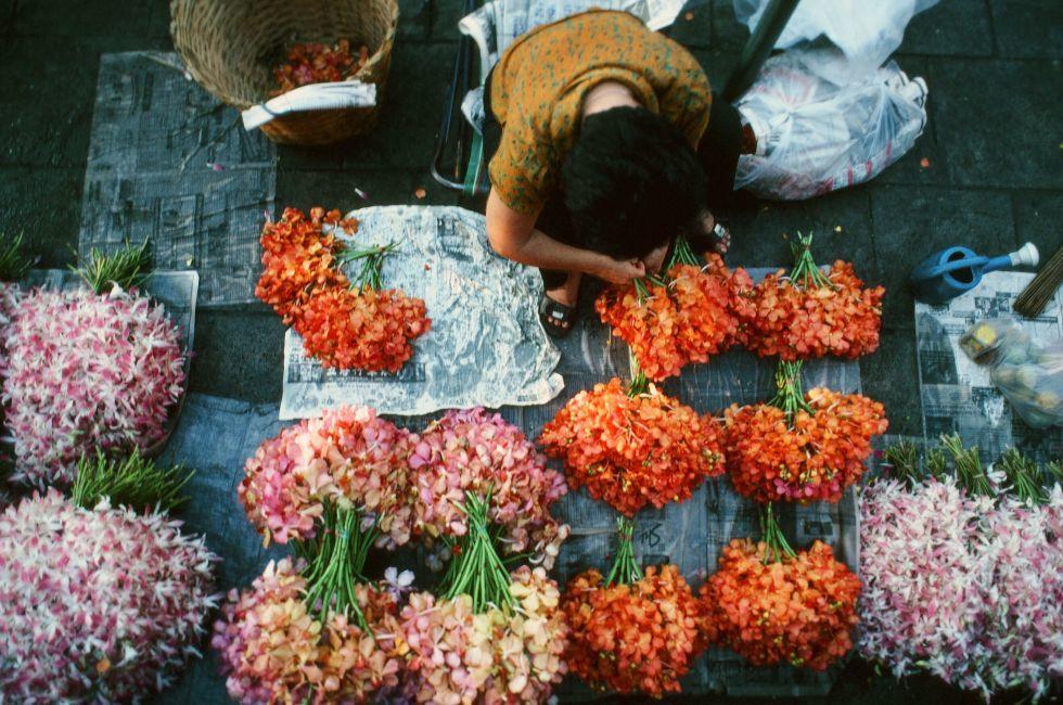 Flower stall, market, Chinatown, Bangkok, Thailand, Asia.