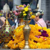 Flowers, Erawan Shrine, Pathumwan, Bangkok, Thailand, Asia.