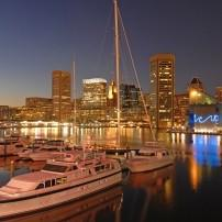 Cityscape, Night, Harbor, Skyline, Baltimore, Maryland, USA