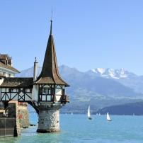 Oberfofen Castle, Lake Thun, Berner Oberland, Switzerland