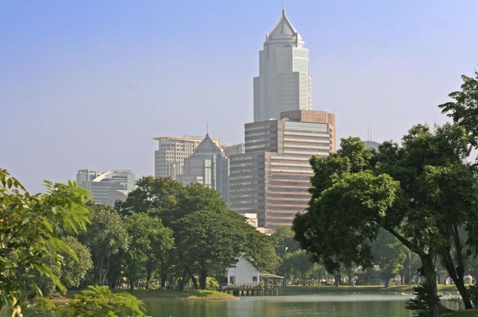 Lake, Lumpini Park, Skyline, Bangkok, Thailand