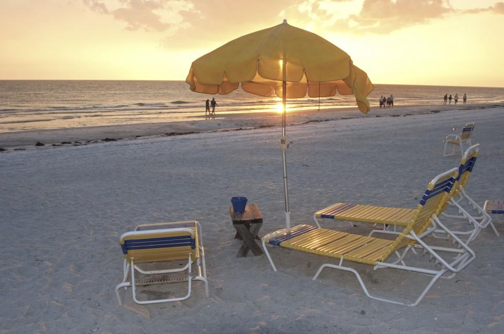 Beach, Chairs, Sunset, Clearwater, The Tampa Bay Area, Florida, USA