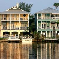 Houses, Waterfront, Pass-a-Grille, St. Pete's, The Tampa Bay Area, Florida, USA