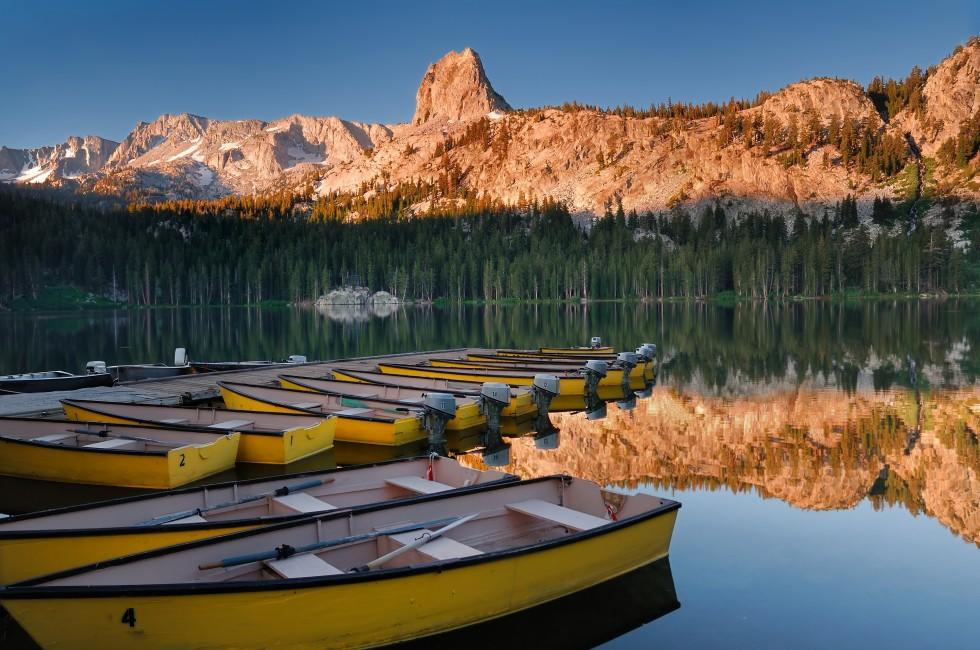 Boats, Lake Mary, Mammoth Mountains, Yosemite National Park, California, USA