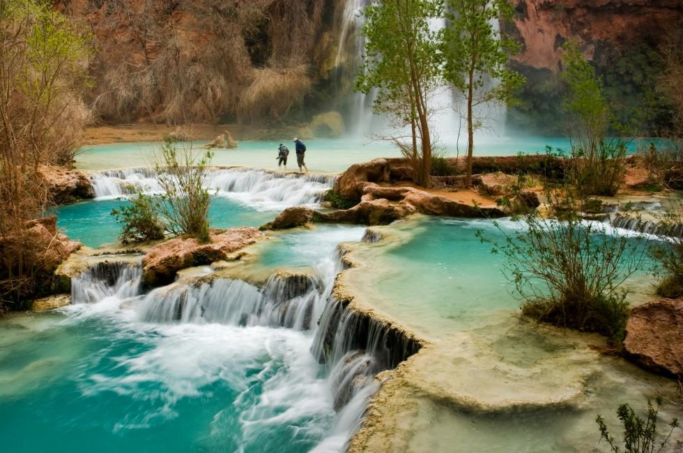 Hikers, Havasu Falls, Grand Canyon, Arizona, USA