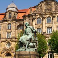 Otto Gvericke Statue, Magdeburg, Saxony, Saxony-Anhalt, and, Thuringia, Germany, Europe.