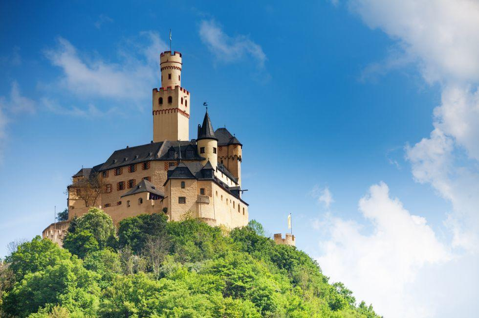 Marksburg Castle, Braubach, The Rhineland, Germany, Europe.