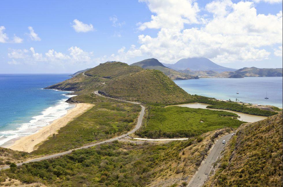 Aerial, Coastline, St. Kitts and Nevis, Caribbean