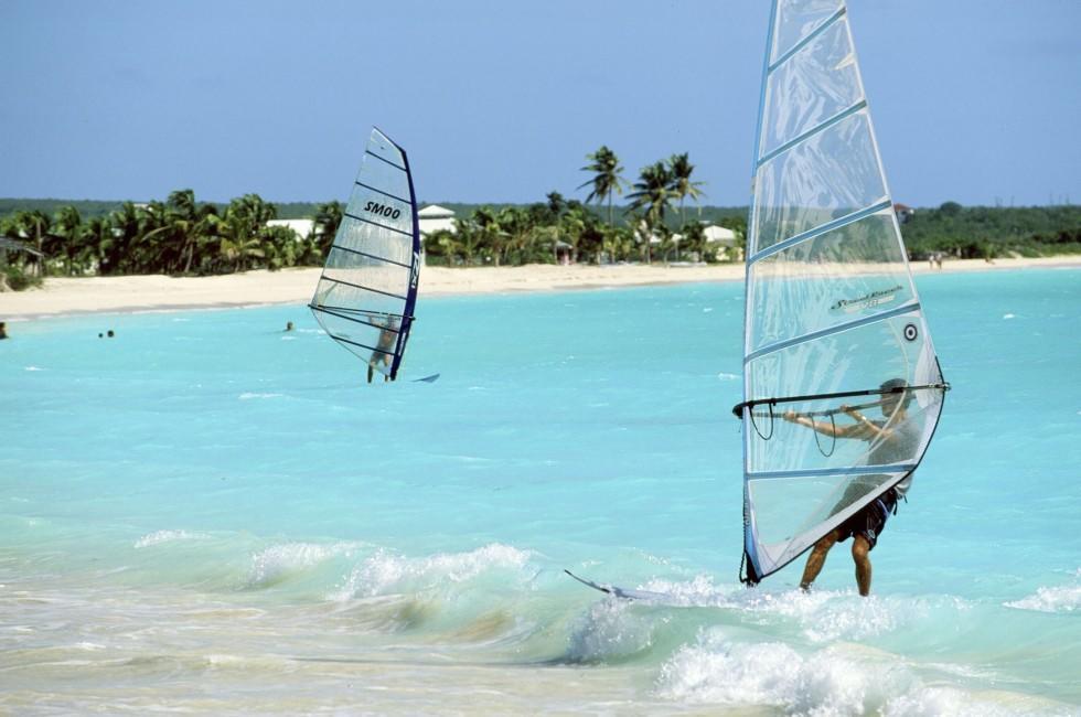 Windsurfers, Beach, Anguilla, Caribbean