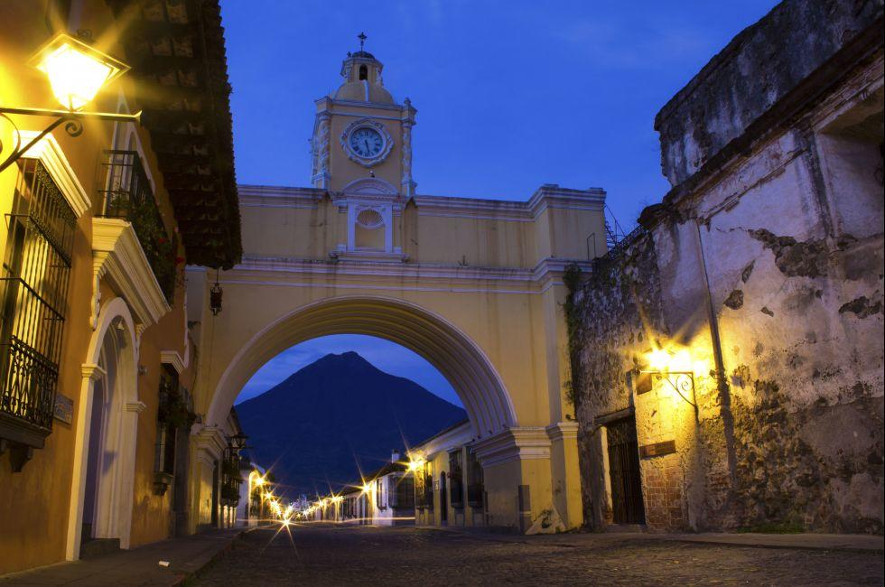 Arch, Street, Night, Antigua, Guatemala