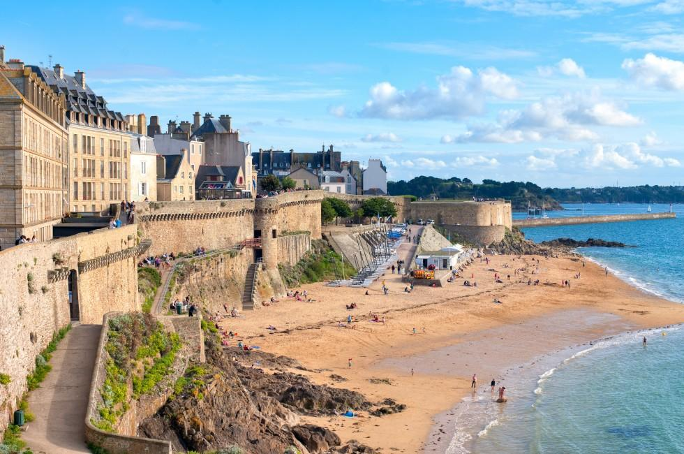 Beach, City Walls, St. Malo, Brittany, France