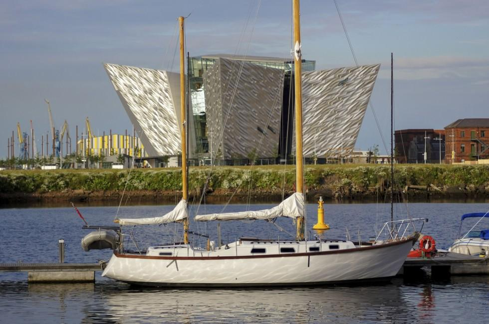 Boat, Harbor, Monument, Titanic Museum, Belfast, Northern Ireland