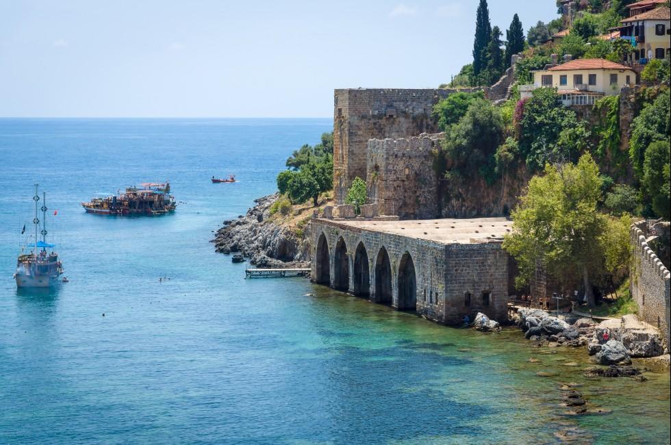 Tersane and Alanya Castle, Alanya, Turkey