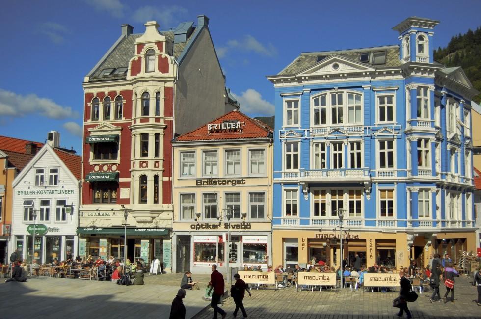 Restaurants, Pedestrians, Bryggen, Bergen, Norway