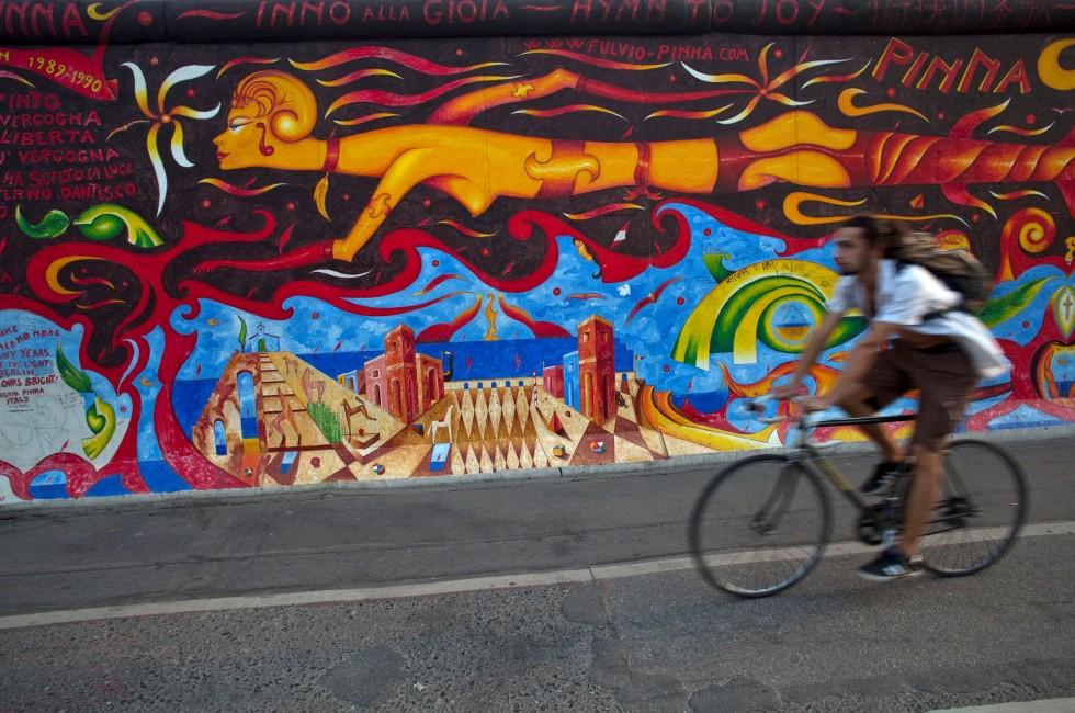 Biker, East Side Gallery, Berlin, Germany