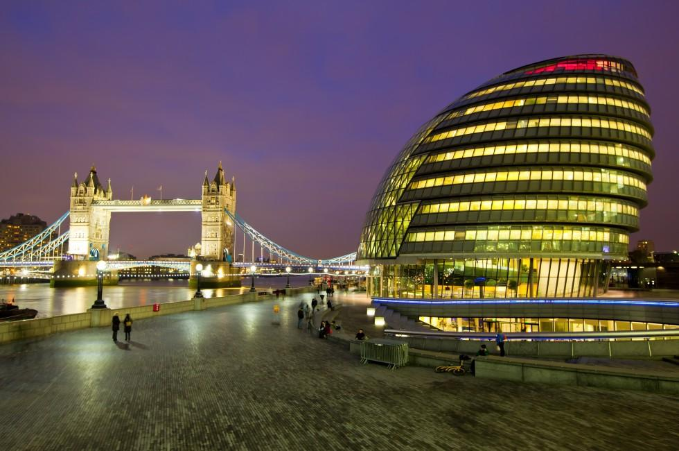 London City Hall, Tower Bridge, River Thames, Night, London, England