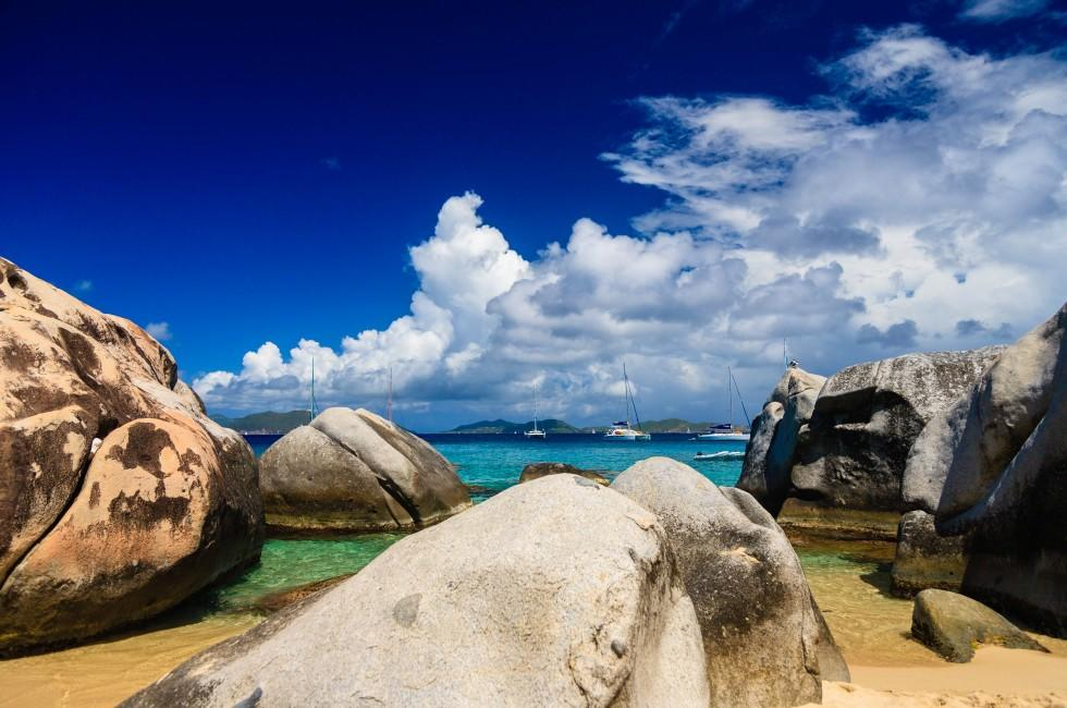 Sailboats, Beach, The Baths, Virgin Gorda, BVI, Caribbean
