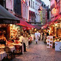 Dusk, Restaurants, Rue Des Bouchers, Brussels, Belgium