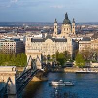 Chain Bridge, Danube River, Gresham Palace, St. Stephen's Basilica, Budapest, Hungary