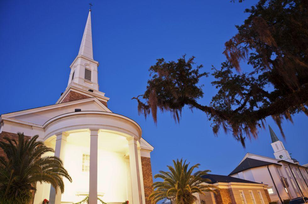 Night, Church, Tallahassee, The Panhandle, Florida, USA