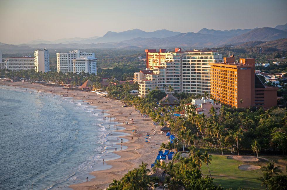 Hotel, Aerial, Sunset, Beach, Coastline, Ixtapa Bay, Ixtapa, Mexico