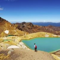Hiker, Emerald Lakes, Tongariro National Park, East Coast and the Volcanic Zone, New Zealand