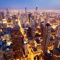 Night, Aerial, Chicago, Illinois, USA