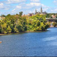 Kayakers, Key Bridge, Potomac River, Georgetown University, Washington, D.C.