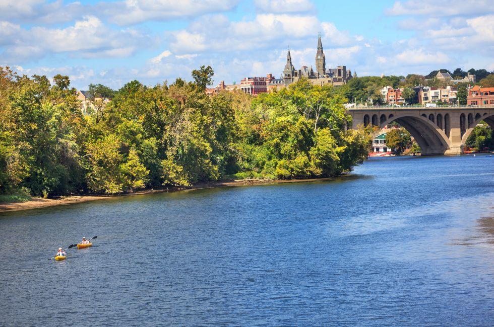Kayakers, Key Bridge, Potomac River, Georgetown University, Washington, D.C.