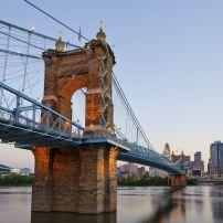 Dusk,  John A. Roebling Suspension Bridge, Ohio River, Cityscape, Cincinnati, Ohio, USA