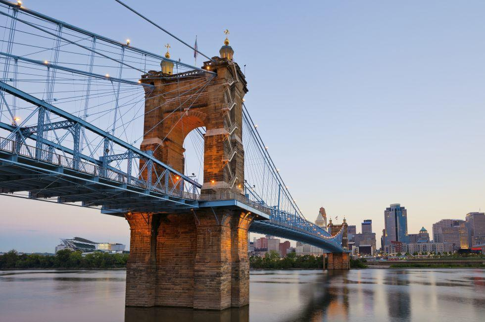 Dusk,  John A. Roebling Suspension Bridge, Ohio River, Cityscape, Cincinnati, Ohio, USA
