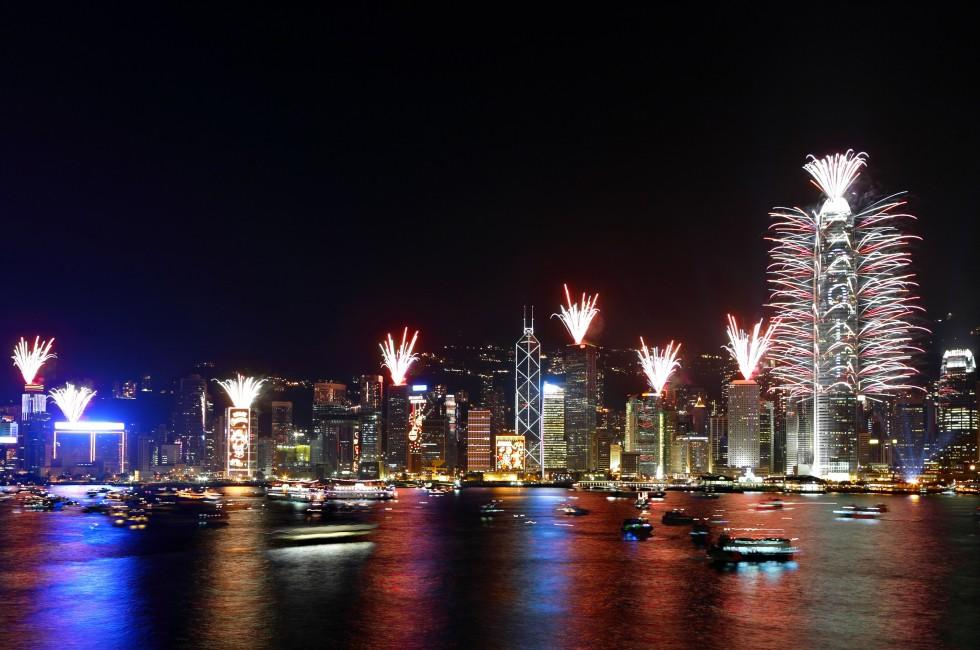 Fireworks show, New Years Eve, Hong Kong, China
