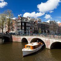 Boat, Bridge, Canal Rings, Amsterdam, Holland