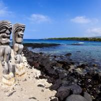 Wooden Statues, Puuhonua O Honaunau National Historical Park, Kona Coast, Big Island, Hawaii, USA