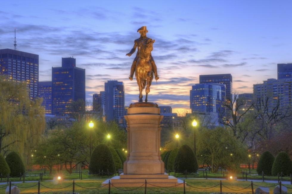 Statue, George Washington, Public Garden, Back Bay, South End, Boston, Massachusetts, USA