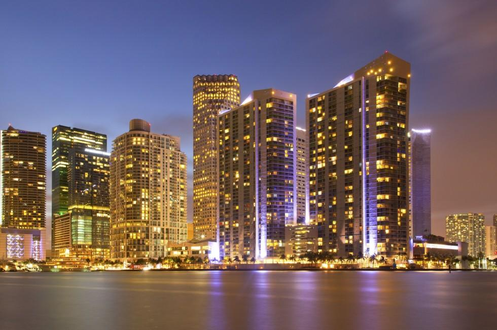 Night, Cityscape, Miami, Florida, USA