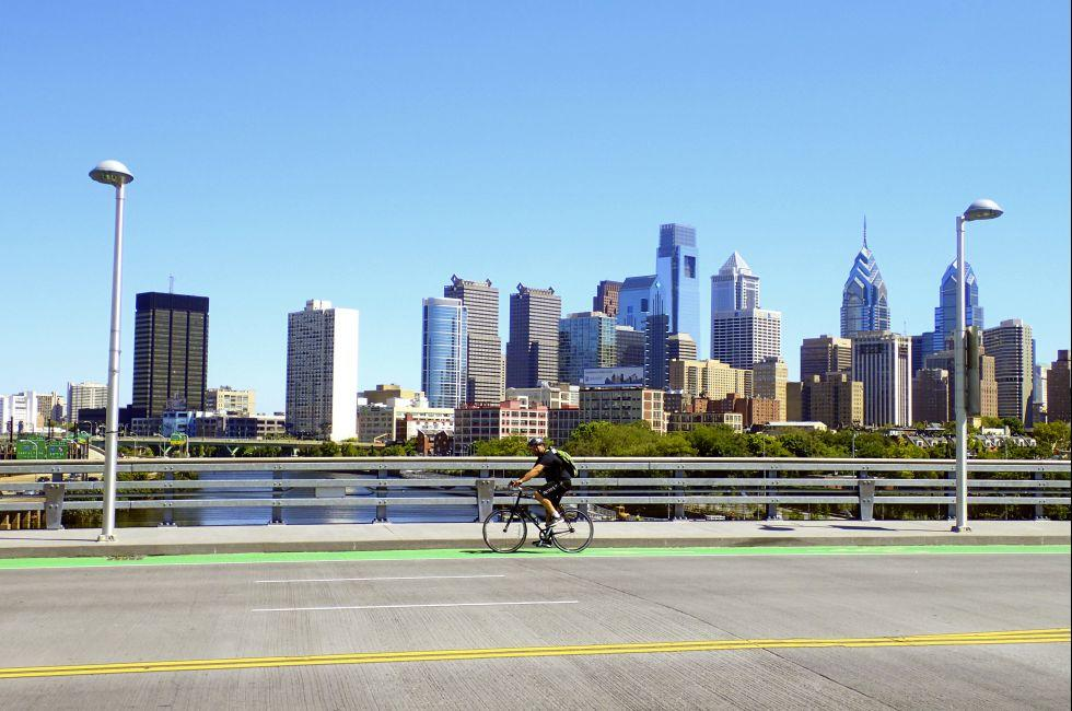 Bicyclist, South Street Bridge, Skyline, Philadelphia