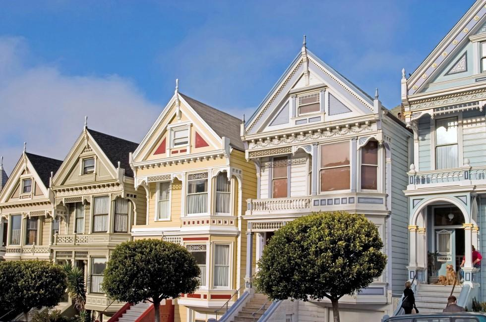 Alamo Houses, Pacific Heights and Japantown, San Francisco, California, USA