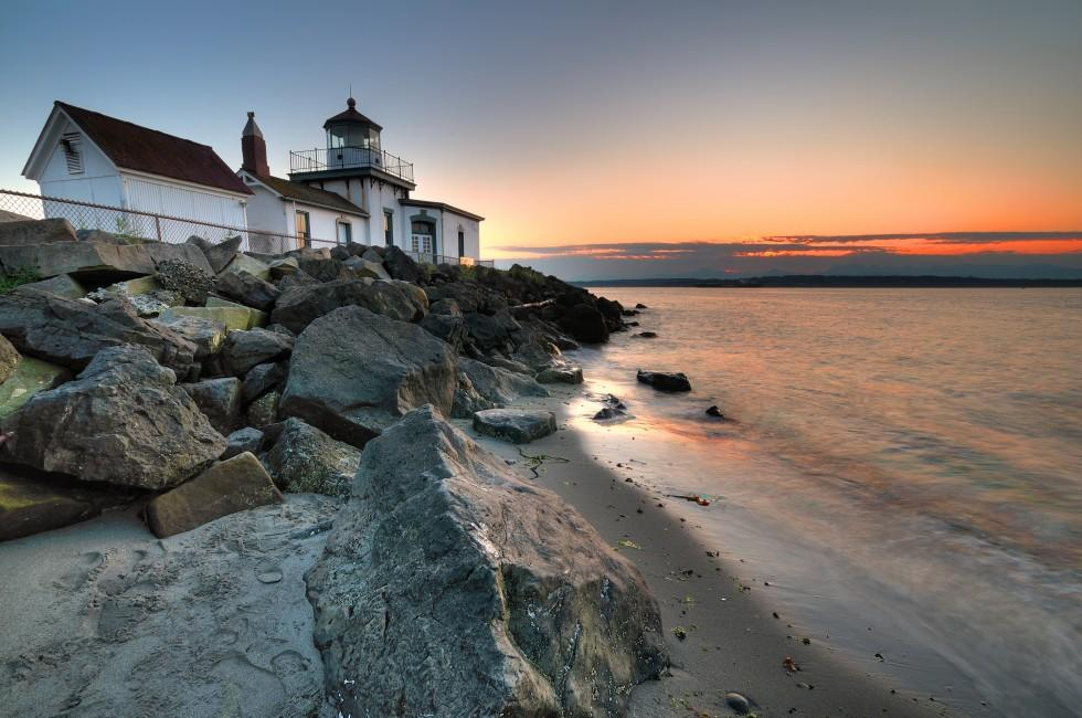 West Point lighthouse, Discovery Park, Queen Anne, Seattle, Washington, USA
