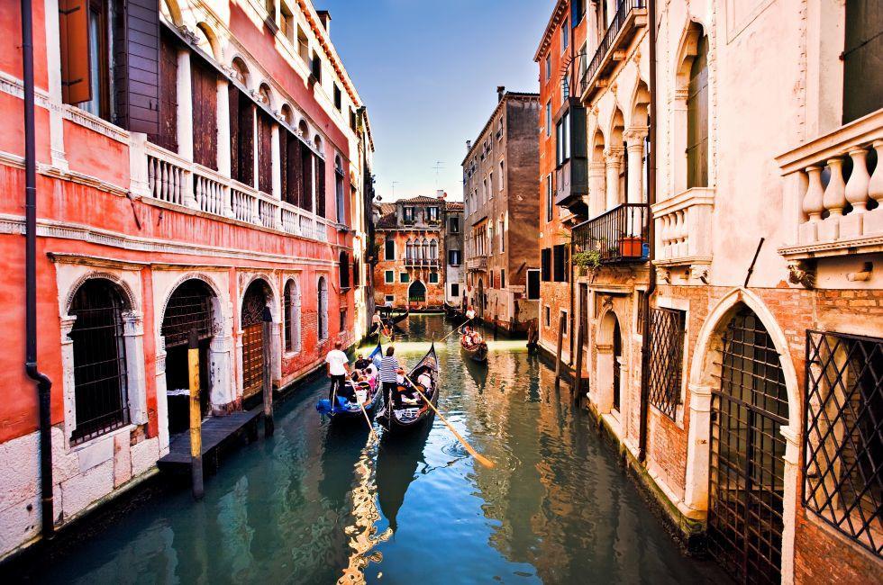 Gondolas, canal, Venice, Italy.