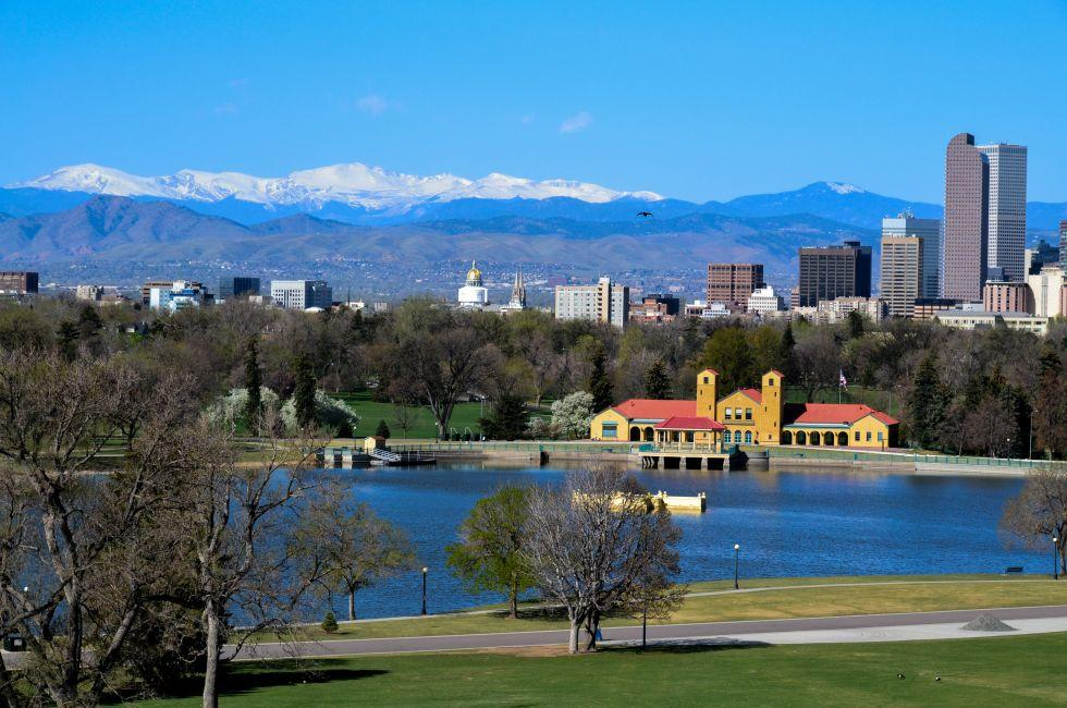 City Park, Skyline, Downtown, Denver, Colorado, USA, North America