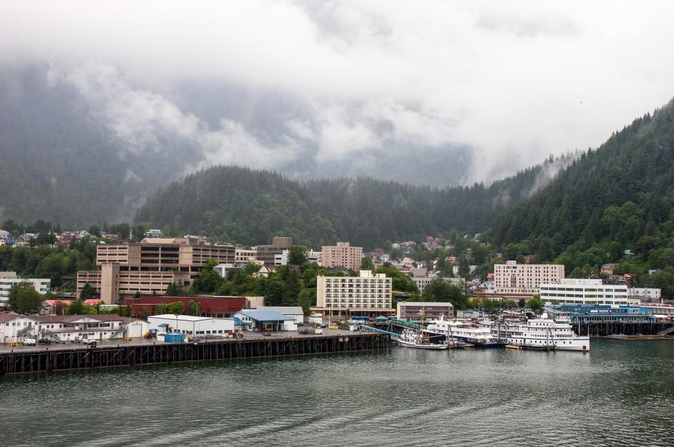 Port, Waterfront, Boat, Cityscape, Clouds, Juneau, Alaska, USA