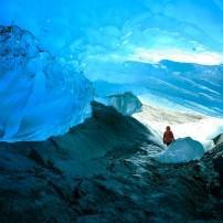 Cave, Hiker, Mendenhal Glacier, Juneau, Alaska, USA