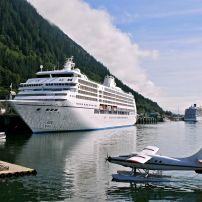 Plane, Cruise Ship, Port, Juneau, Alaska, USA