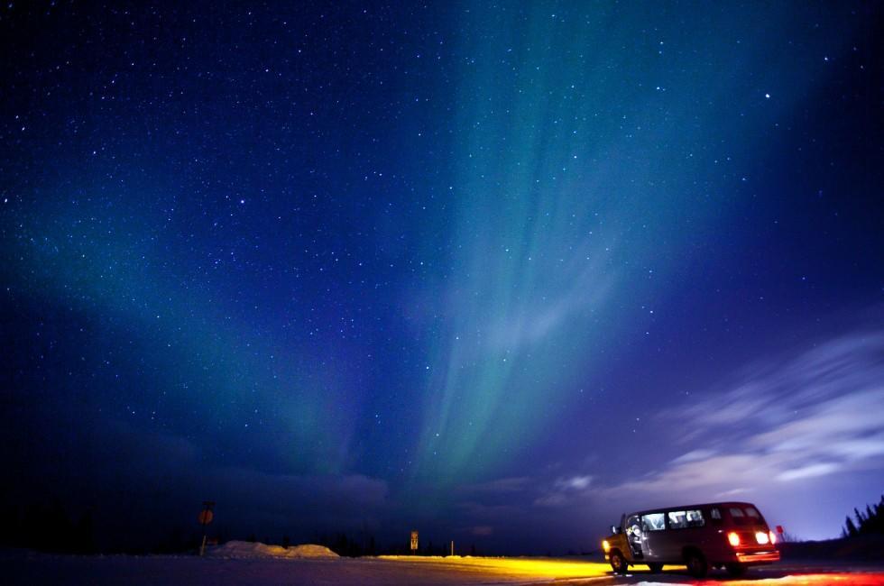 Night, Northern Lights, Aurora Borealis, Fairbanks, Alaska