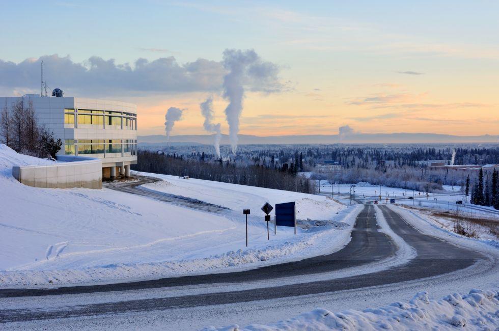 University of Alaska Fairbanks, Cityscape, Dusk, Fairbanks, Alaska