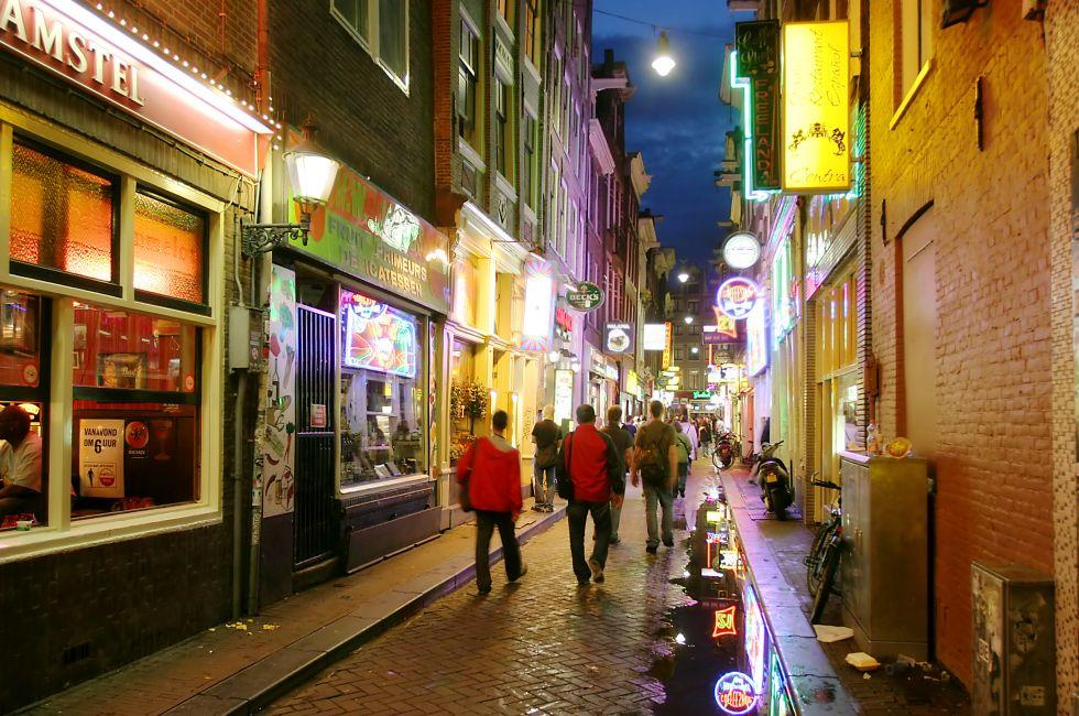 Shops, Red Light District, Old City Center, Amsterdam, Holland