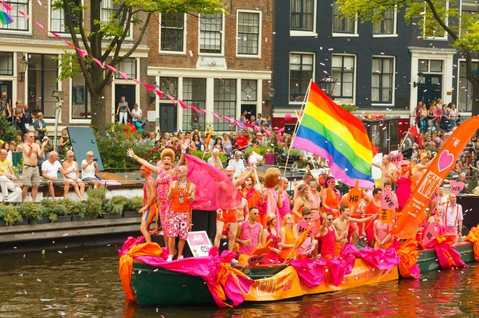 Gay Pride Parade, Canal Rings, Amsterdam, Netherlands, Europe